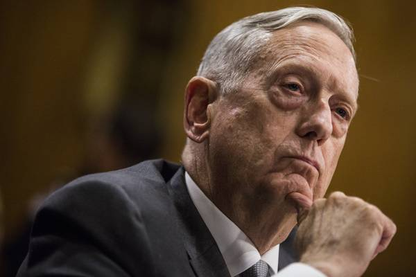 Defense Secretary Jim Mattis listens during a Senate Foreign Relations Committee hearing in Washington in October. (Zach Gibson/Bloomberg)