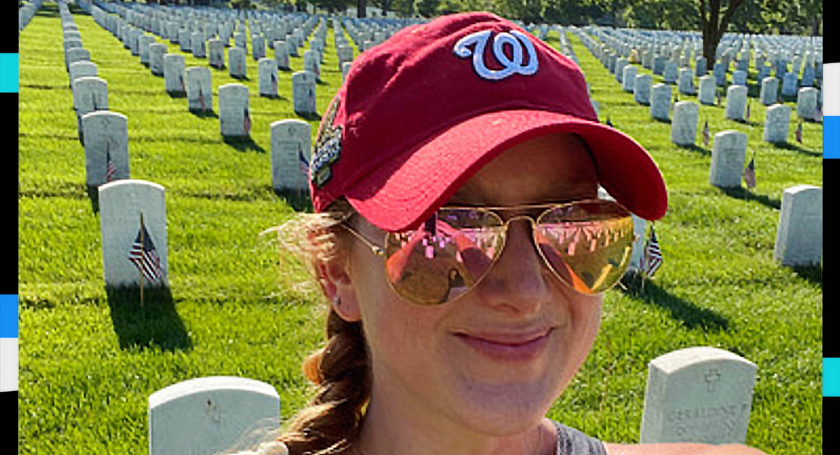 Emily Domenech in a selfie at Arlington National Cemetery on Memorial Day 2020. (Emily Domenech)