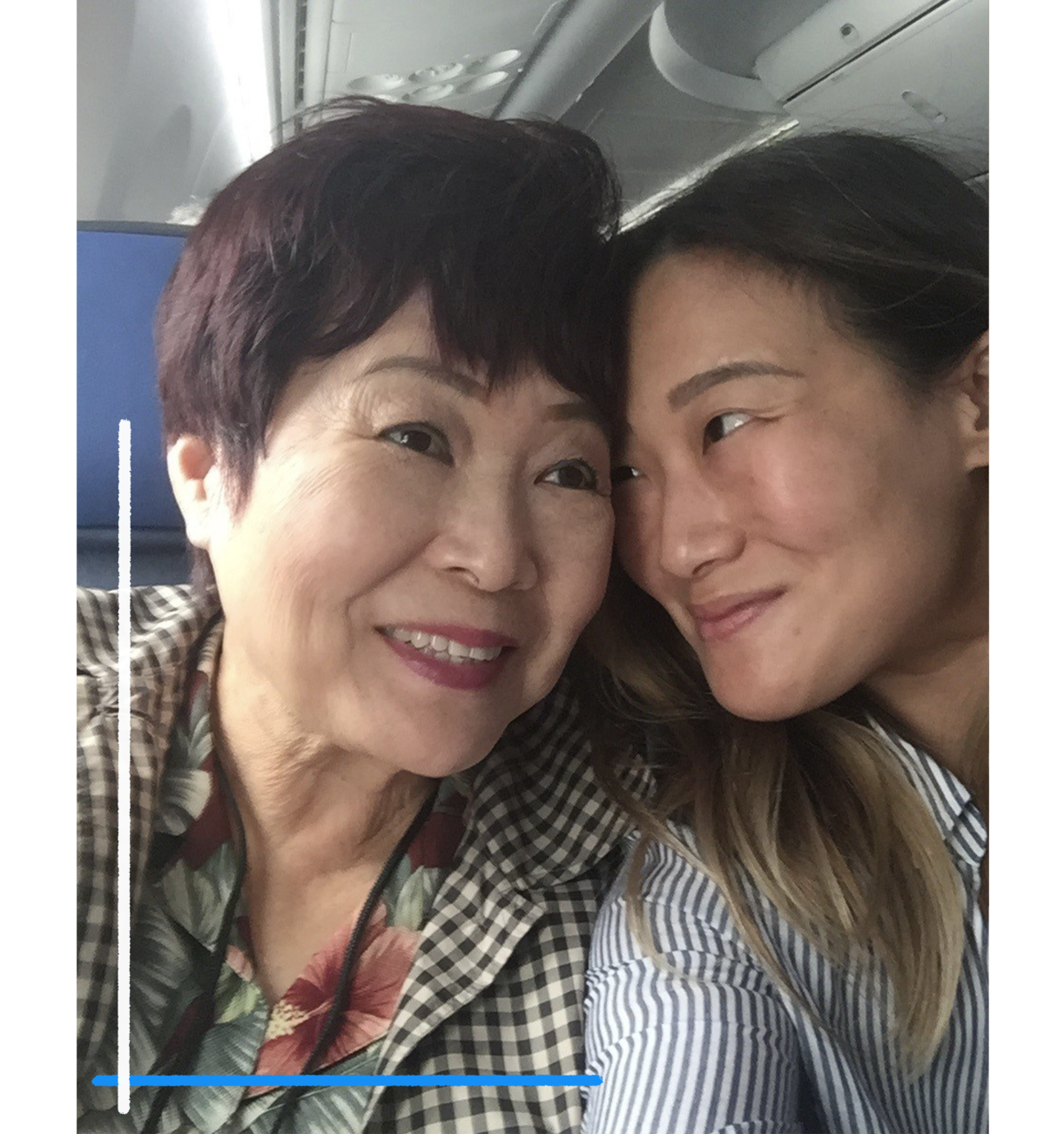 Barbara Yang, left, and Stephanie Yang on a plane to Taiwan in 2016. (Family photo)