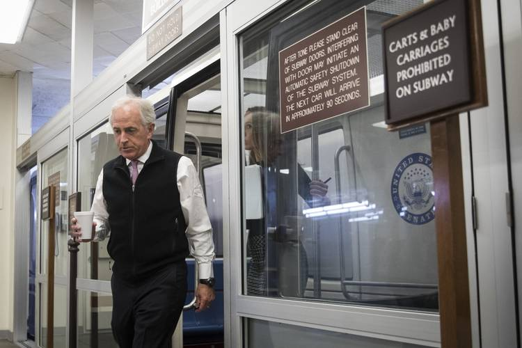 Sen. Bob Corker (R-Tenn.) heads to a meeting with Mitch McConnell. (Drew Angerer/Getty Images)