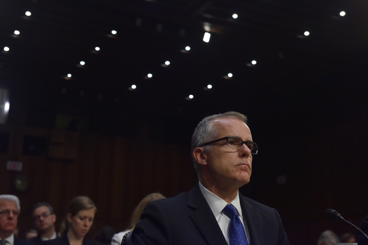 Andrew McCabe, Acting Director of the Federal Bureau of Investigation, testifies before the Senate Intelligence Committee. (Jahi Chikwendiu/The Washington Post)/p