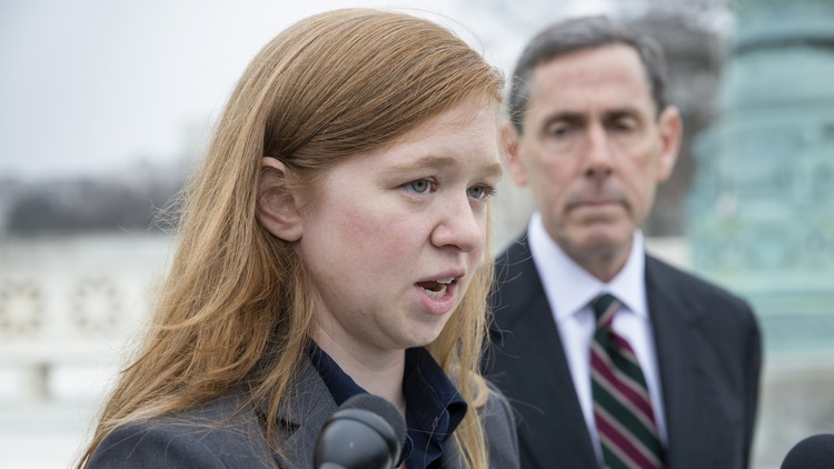 Abigail Fisher, who challenged the use of race in college admissions, speaks to reporters outside the Supreme Court in 2015. (AP/J. Scott Applewhite)