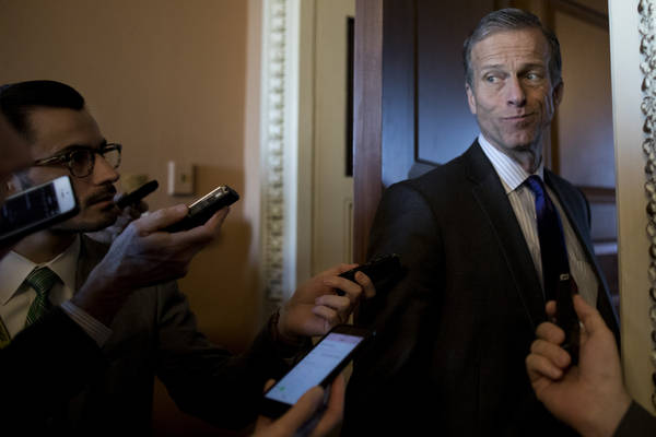 Sen. John Thune (R-S.D.) speaks with reporters on Capitol Hill this month. (Photo by Aaron P. Bernstein/Getty Images)