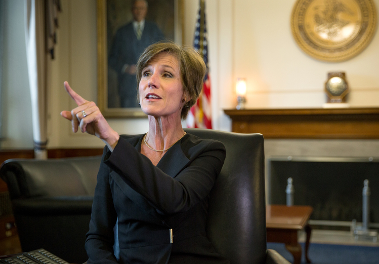 Sally Yates in her office at the Justice Department before she got fired. (Evelyn Hockstein/For The Washington Post)</p>